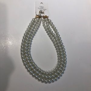 Glass pearl three layer necklace and earrings NWT